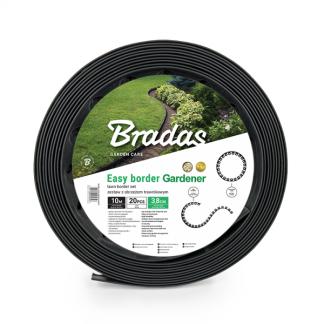 Plastový okraj trávnika set 10m x 3,8 cm, čierny BRADAS